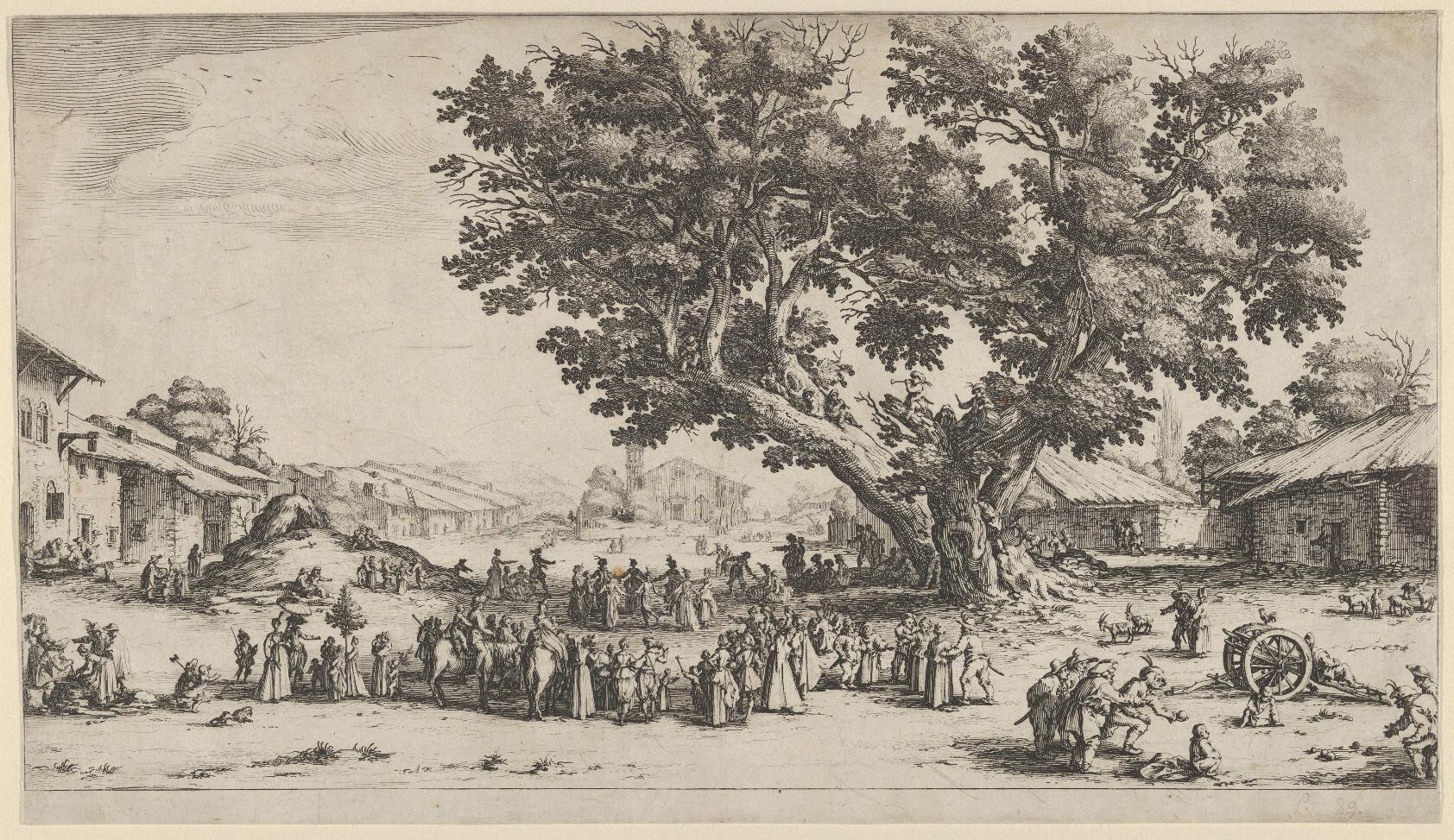 a may day celebration around a tree